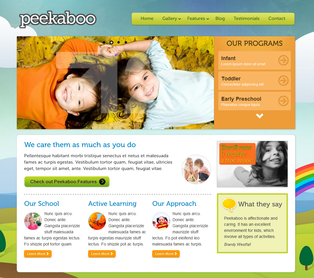 Preschool Website Design - Wordpress Theme