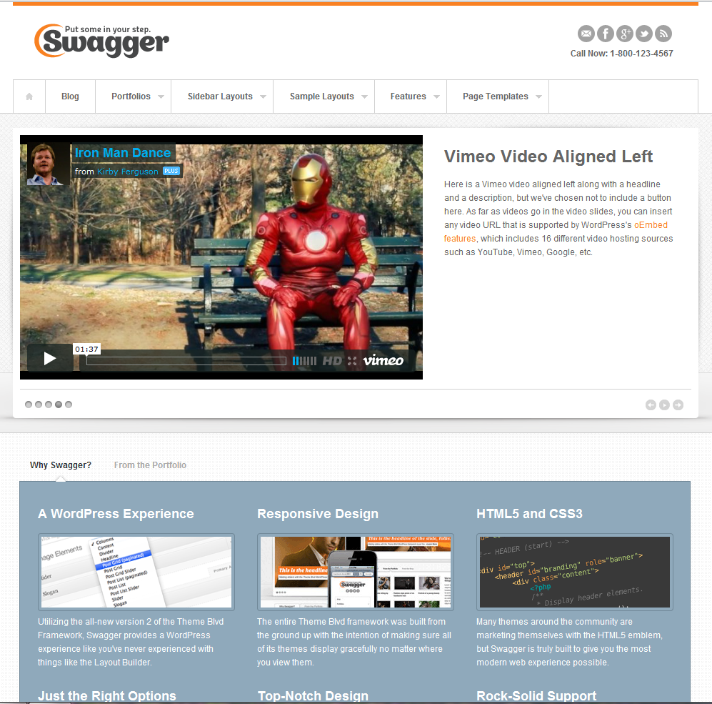 Wordpress website theme featuring video in top slider
